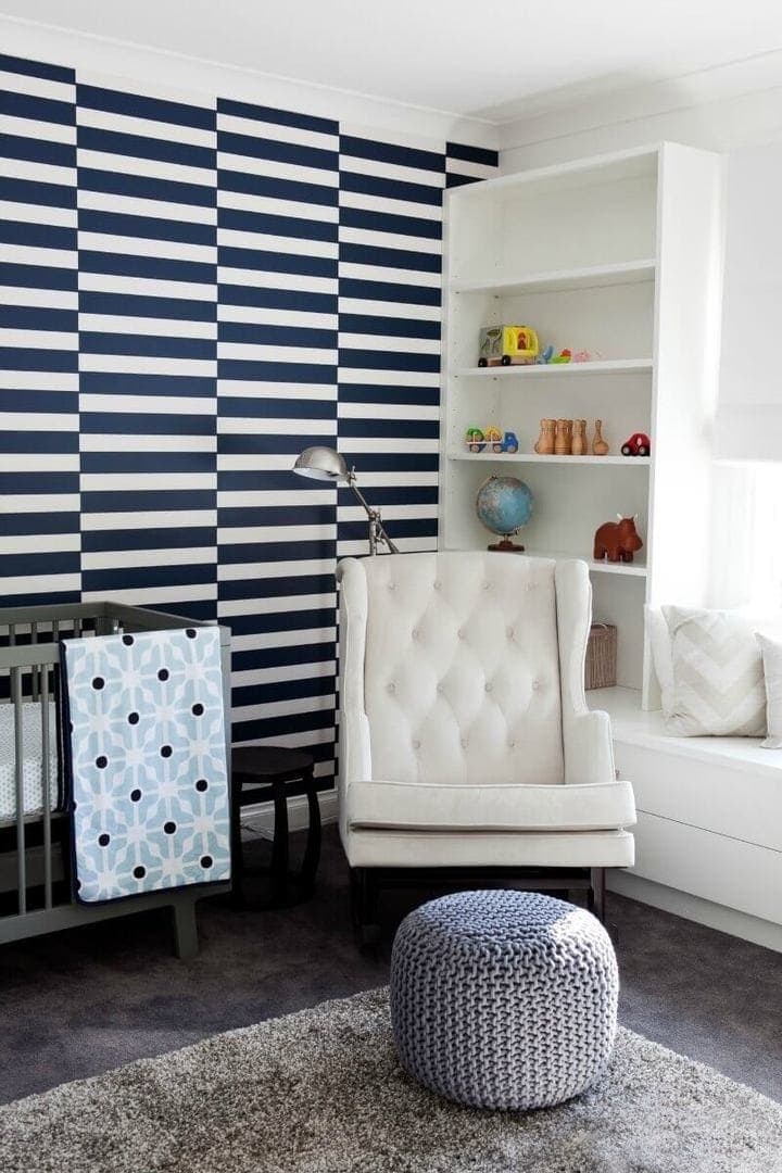 baby Room design ideas nursery wallpaper in blue and white stripe