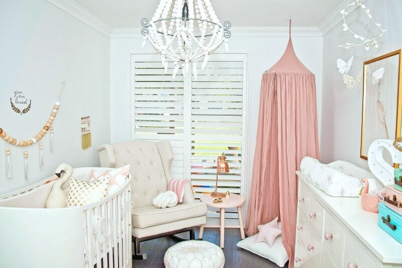 baby Room design nursery armchair in cream with baby cot and change table