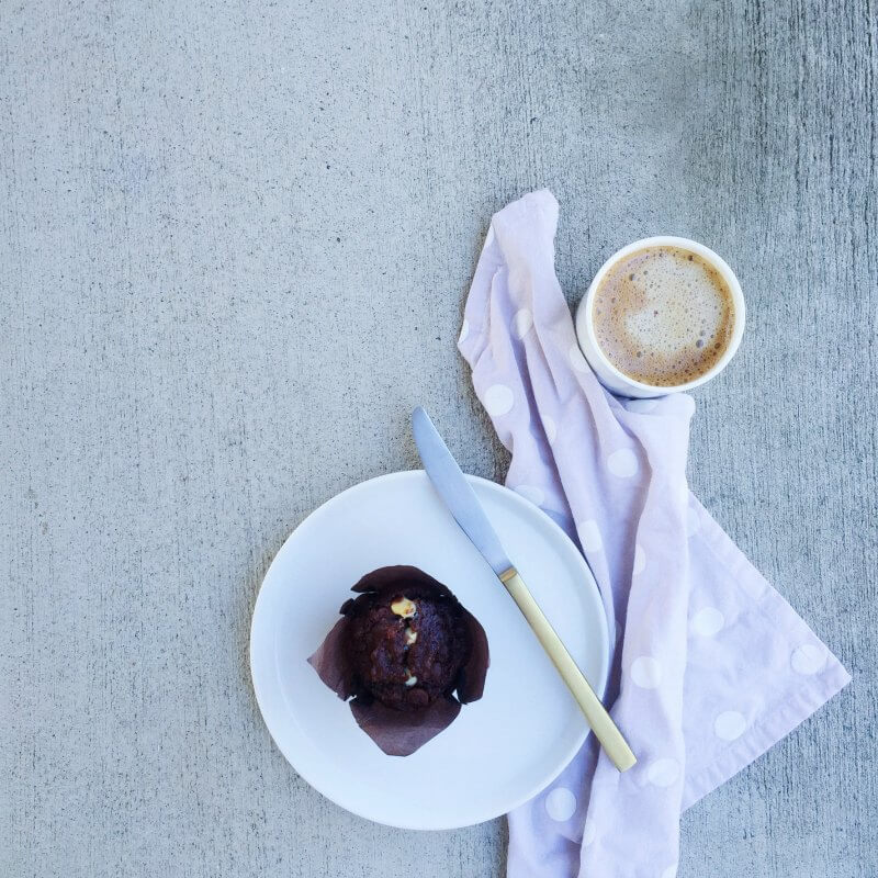 chocolate muffin recipe with coffee flatlay muffin styling the life creative