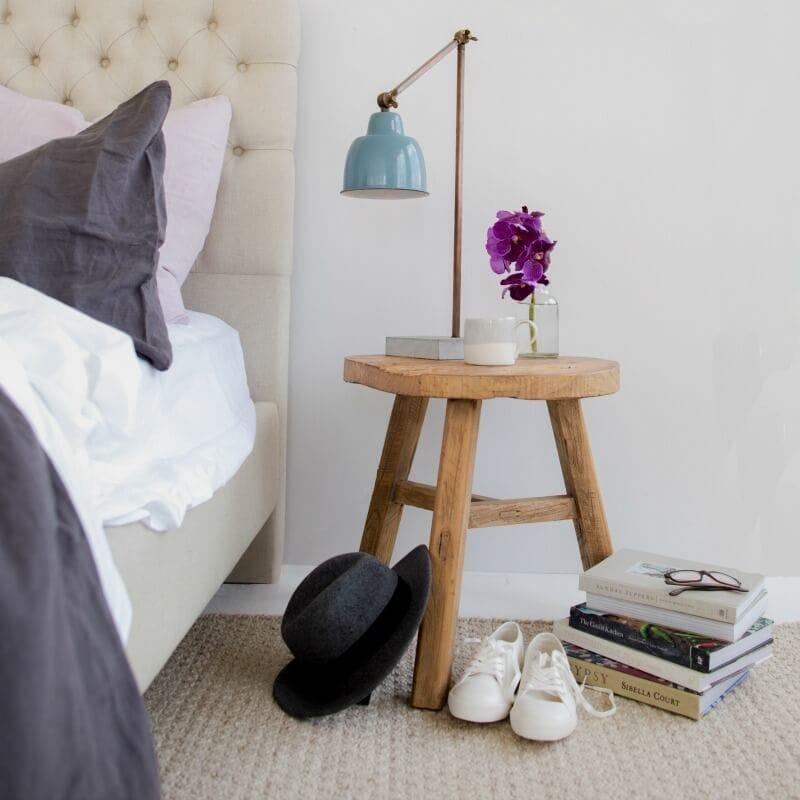 feminine bedside table styling cosy bedroom ideas Bloom and Co The Life Creative