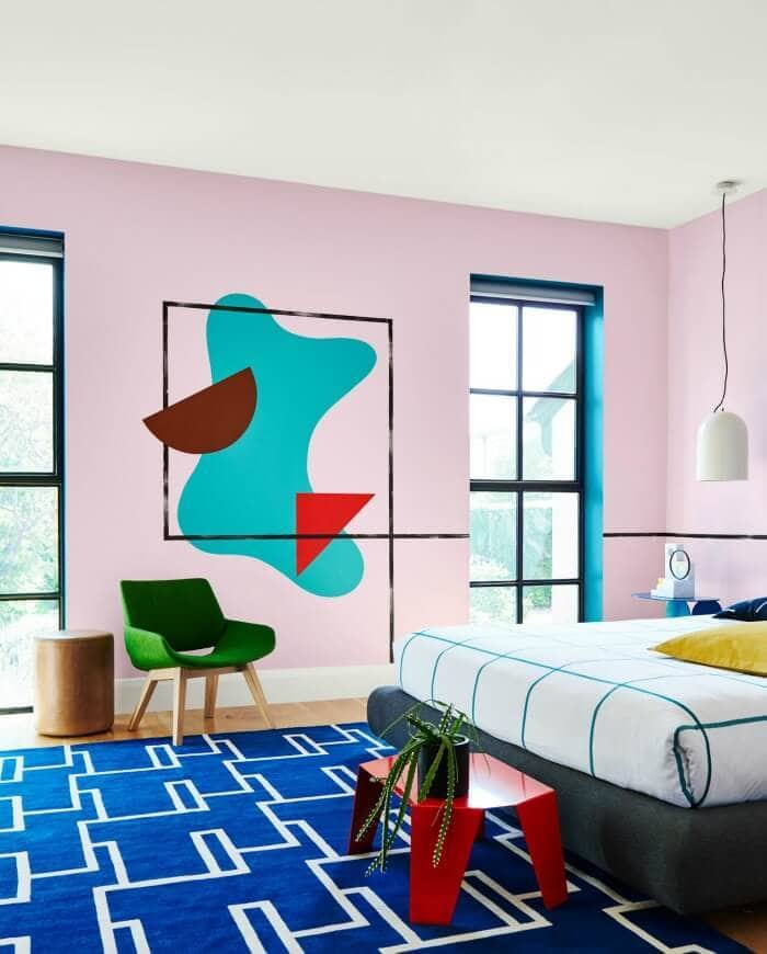 pink feature wall in bedroom with mural spring colours from dulux 2016