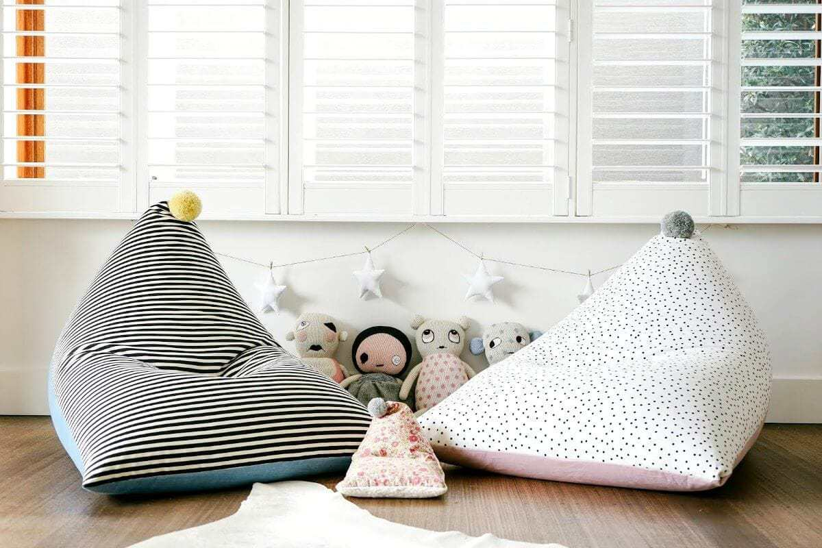 Baud and Co kids beanbags black and white stripe and white and black polka dots