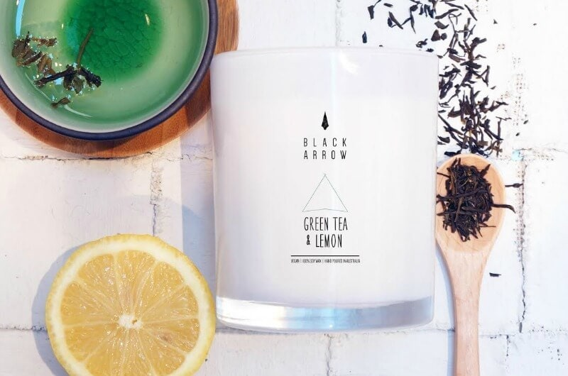 Black Arrow Green Tea and Lemon Candle on The life creative