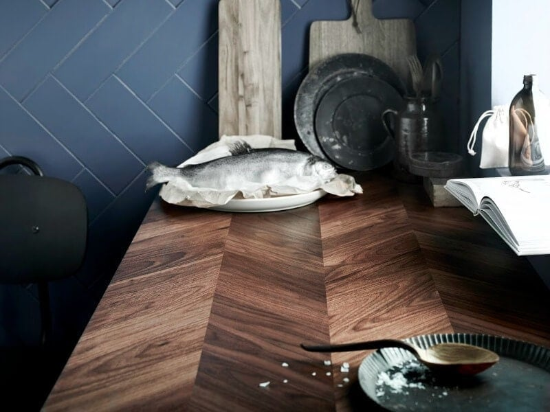 IKEA BARKABODA Worktop herringbone wood benchtop pattern