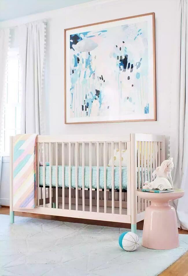 Kids nursery feature art large wall art in baby girls nursery