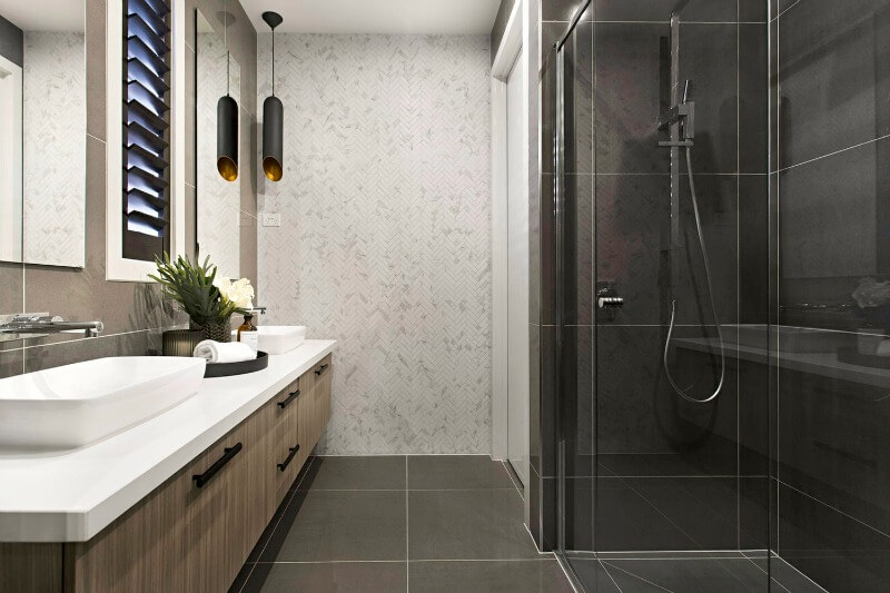 Metricon Urban Organic Lookbook Theme bathroom with marble herringbone tiles