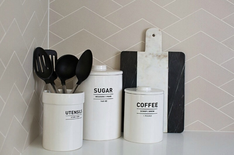 Metricon Urban Organic Lookbook Theme white kitchen canisters