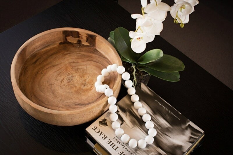 Metricon Urban Organic Lookbook theme wooden bowl with necklace