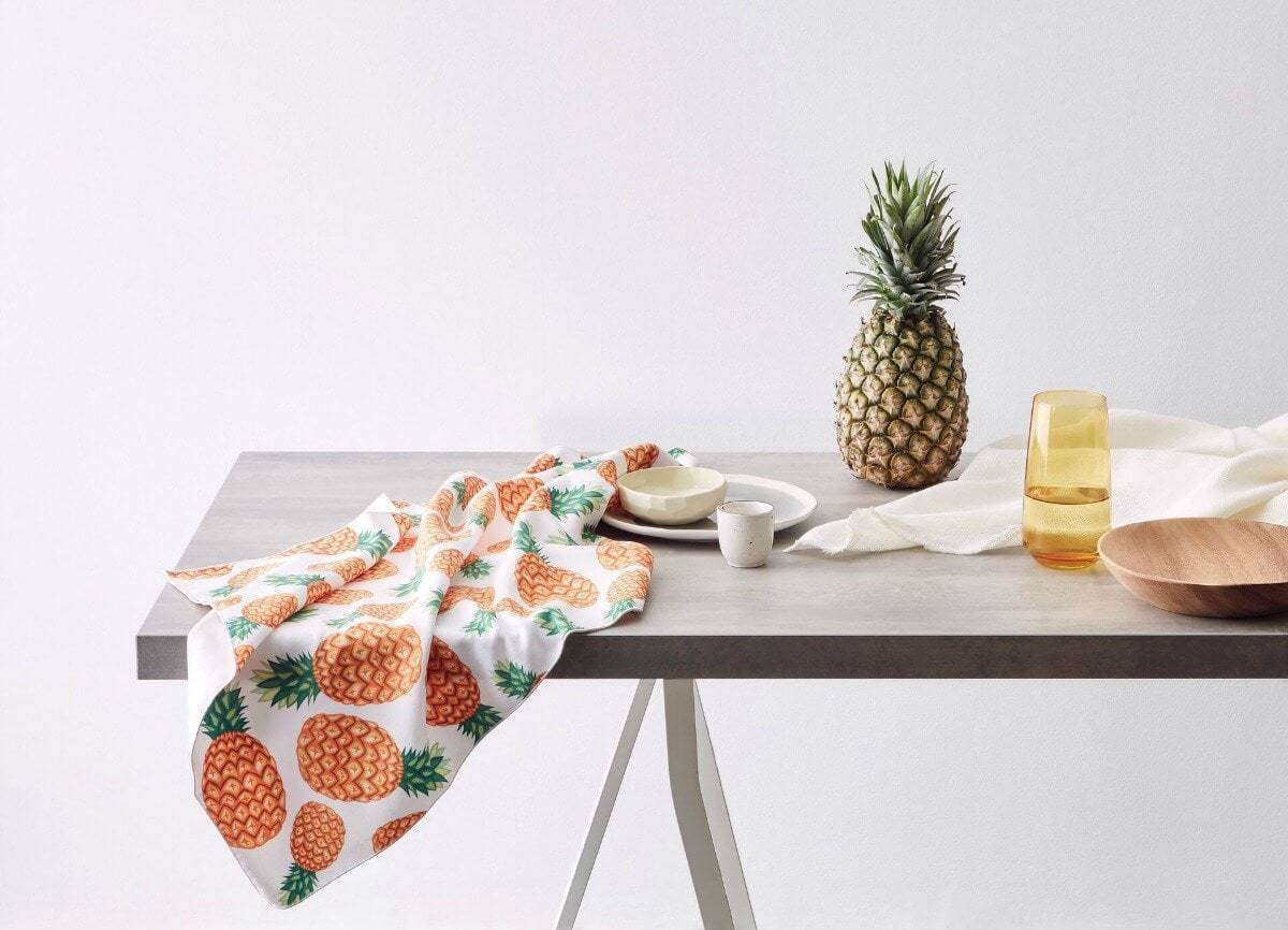 Microfibre tea towel with pineapple print pattern by KE Design