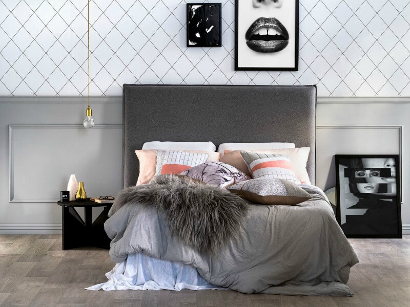 art club concept elysian collectin master bedroom wiht charcoal grey upholstered headboard diamond wallpaper