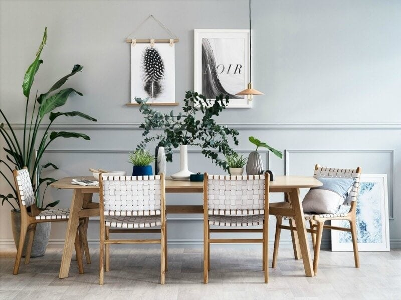 art club concept elysian collection blond timber dining room with indoor plants and grey walls