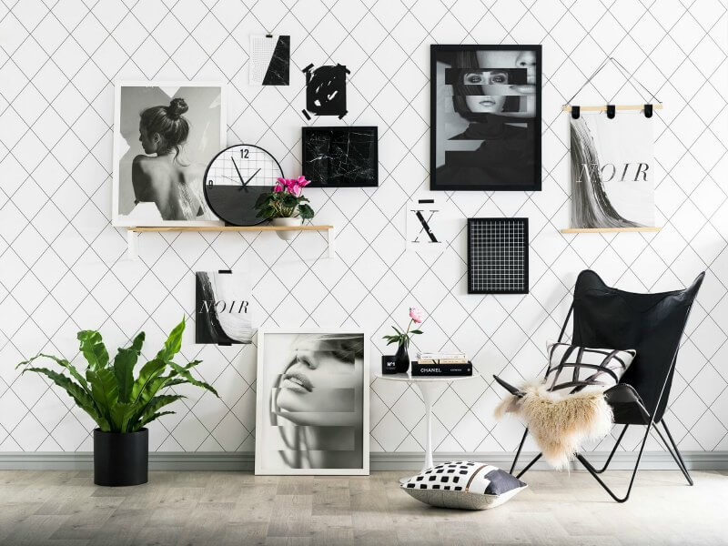 art club concept elysian collection gallery wall with diamond wallpaper design