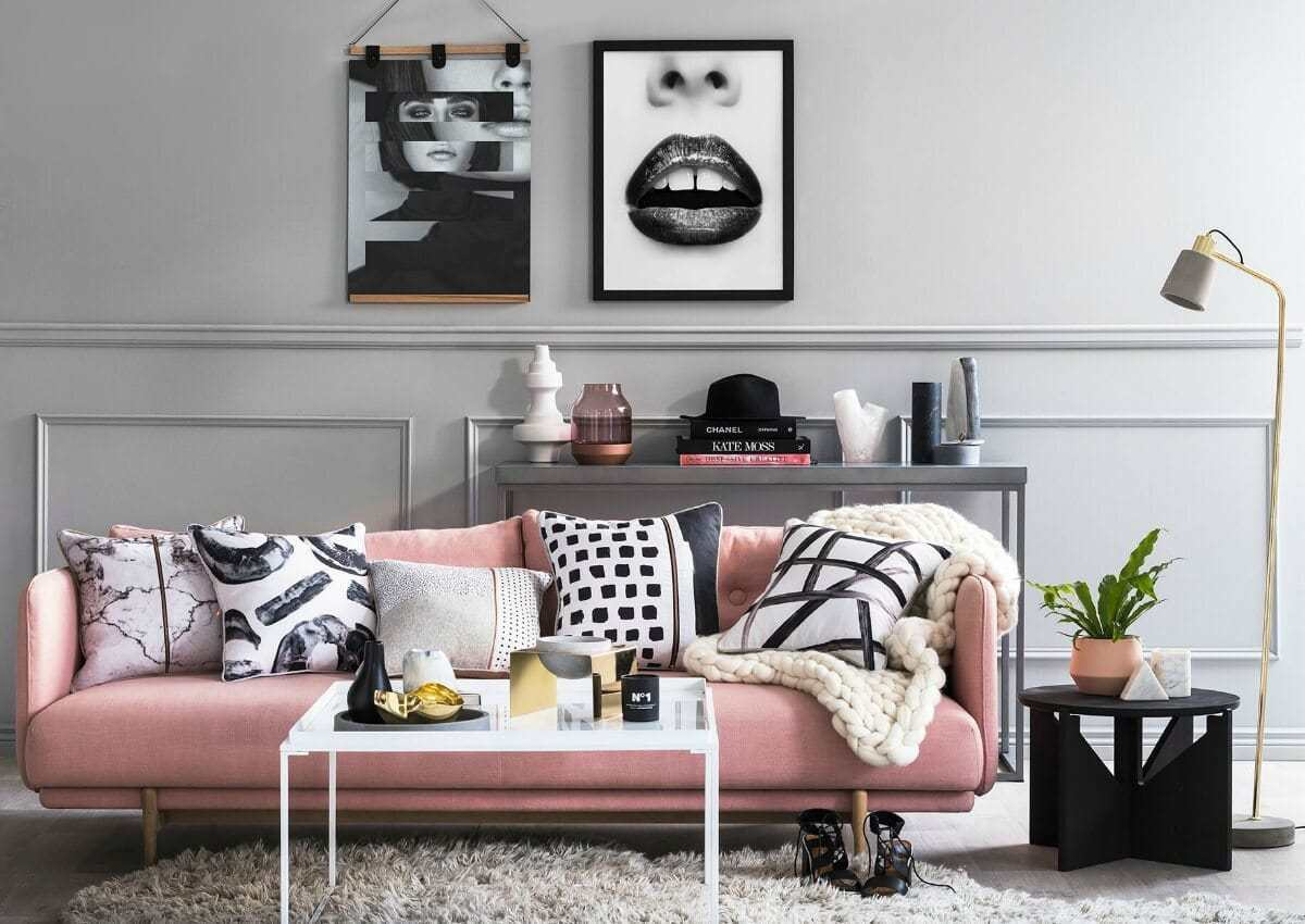 art club concept elysian collection pink sofa black and pink living room with shag rug