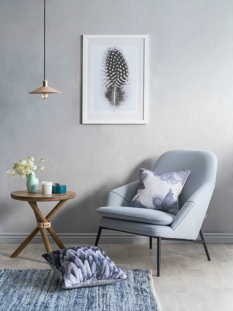 art club concept elysian collection powder blue armchair with wooden side table