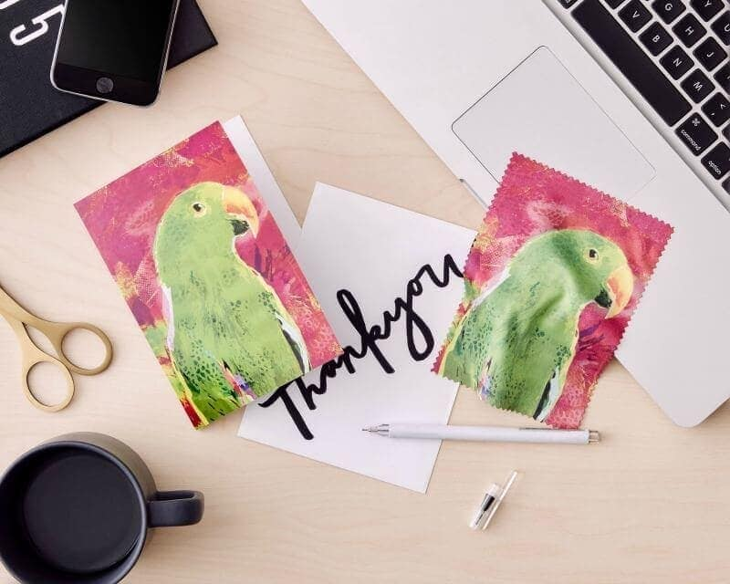 bird greeting card and microfibre glasses cleaner by KE Design