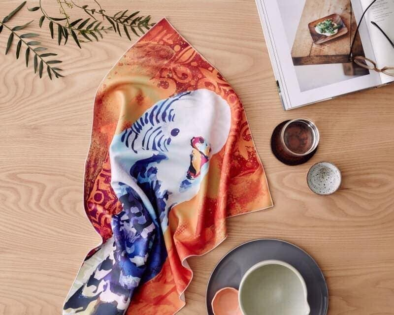 budgie microfibre tea towel from KE Design