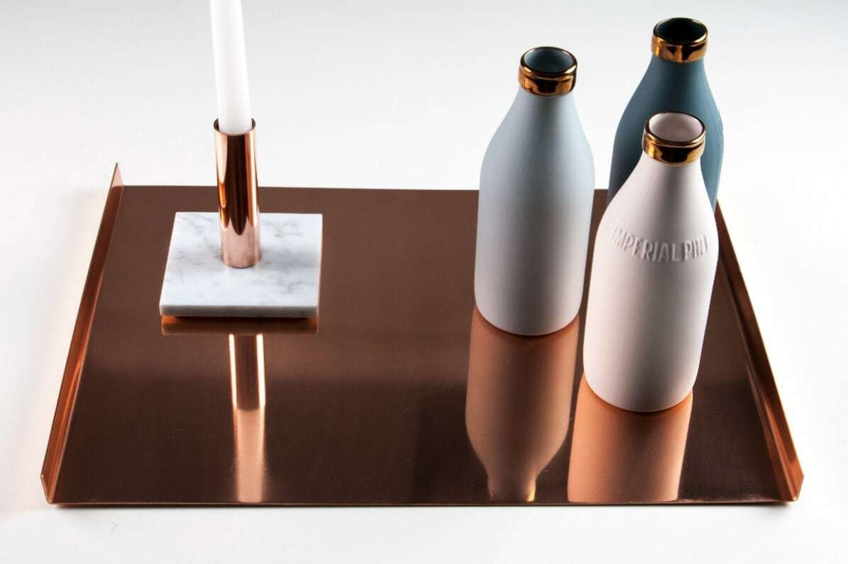copper tray with marble candelabra by marble and metal the life creative