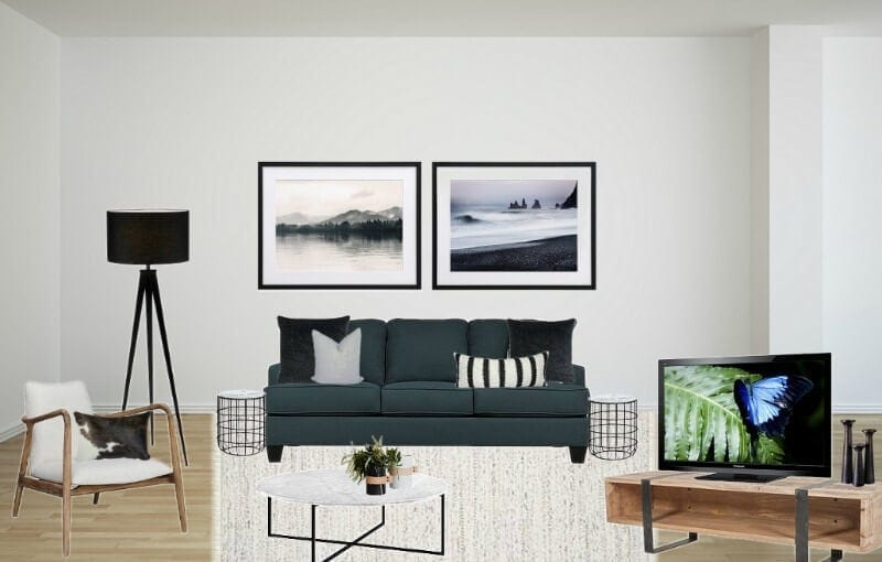 dark teal sofa in living room with marble coffee table mood board