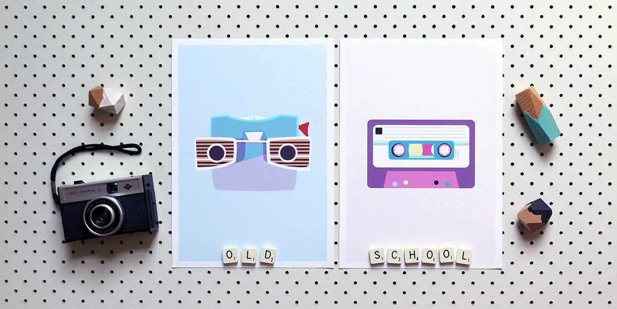 emma wilkinson art prints camera and cassette