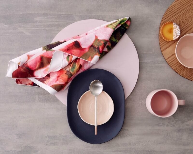 floral microfibre tea towel by KE Design with pink and black tableware