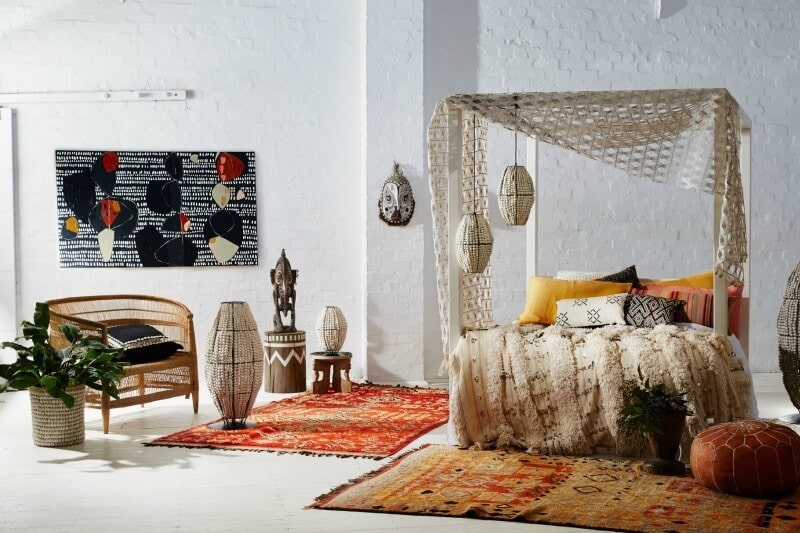 global boho african bedroom with clay pendant lights from klaylife