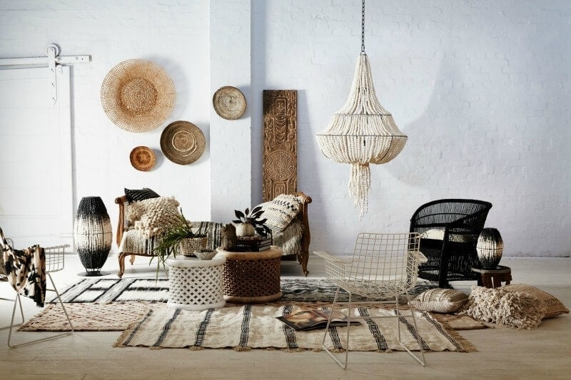 global boho living room with clay pendant light from klaylife
