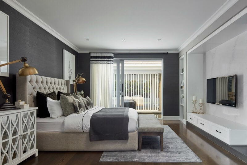 hamptons master bedroom design with tufted bed by metricon homes