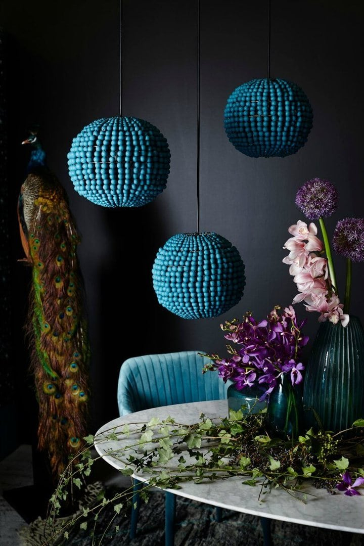 klaylife pendant lights bluebead pendant lights against black feature wall