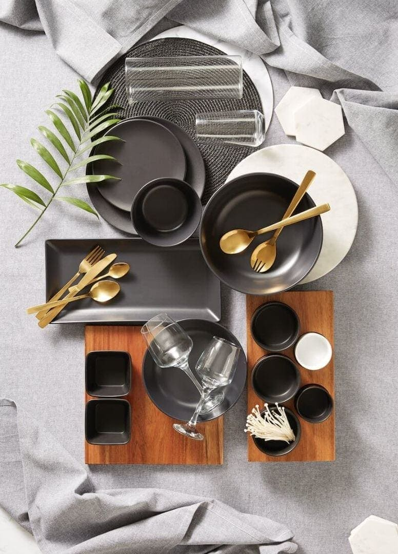 kmart august 2016 black and grey dinnerware with gold cutlery the life creative