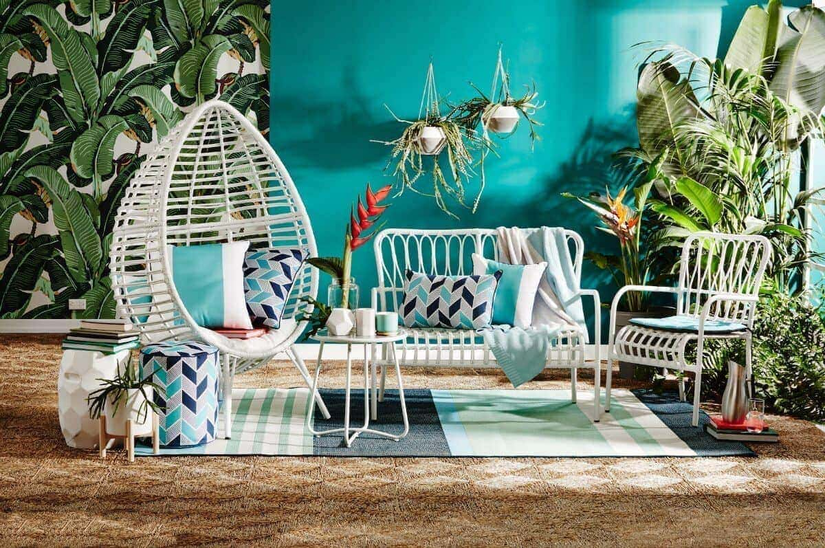 kmart august 2016 tropical palm leaf wallpaper and white whicker outdoor furniture on the life creative & The Kmart August Living Collection is More Colourful than Ever