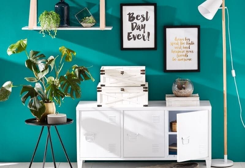 kmart august 2016 white office furniture and best day ever print against turquoise wall