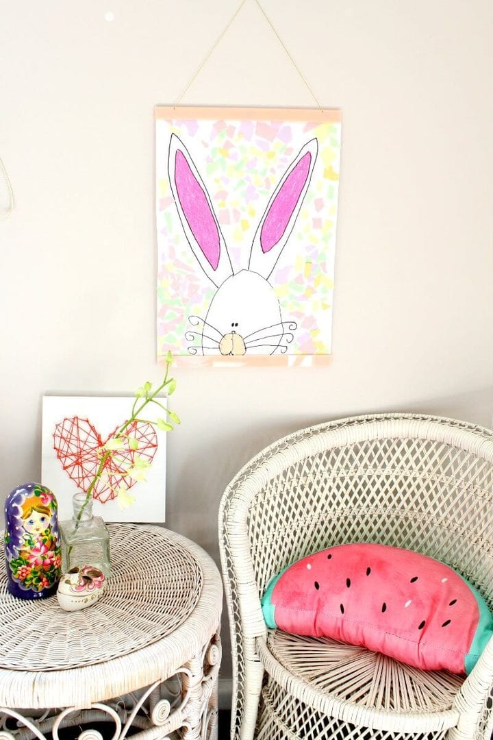 lecky studio poster hanger in pink with watermelon cushion on the life creative
