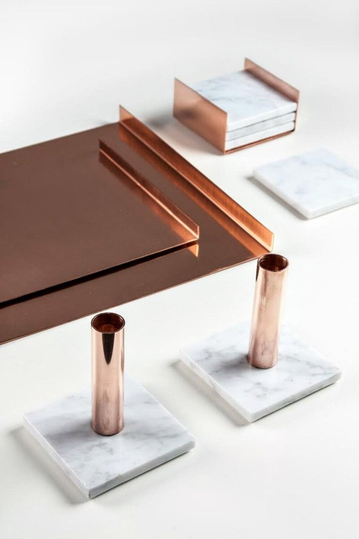 marble and copper candle holders with copper tray from marble and metal the life creative