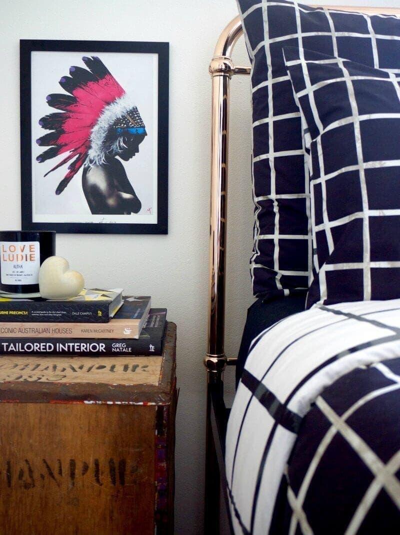 matt stewart indian headress art on master bedroom wall art incy interiors eden bed