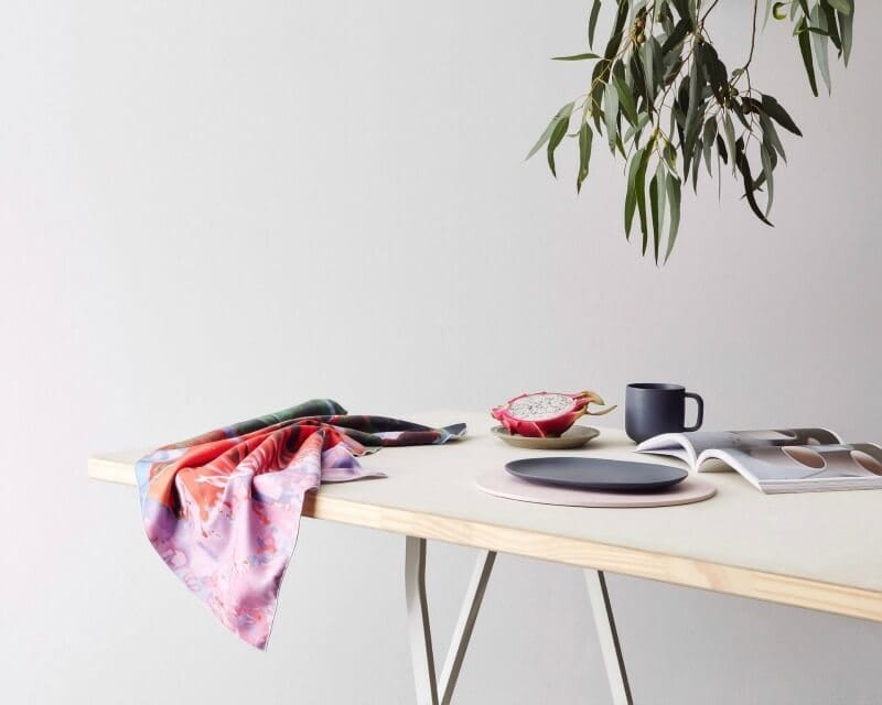microfibre tea towel in red and pink colourway by KE Design