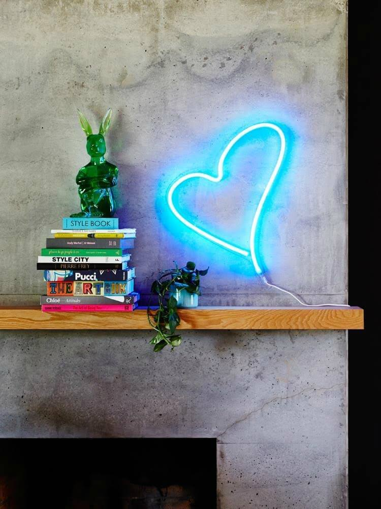 neon poodle blue love heart light on the life creative