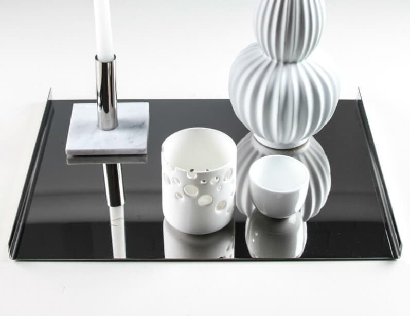 silver tray with marble candelabra by marble and metal luxe decor