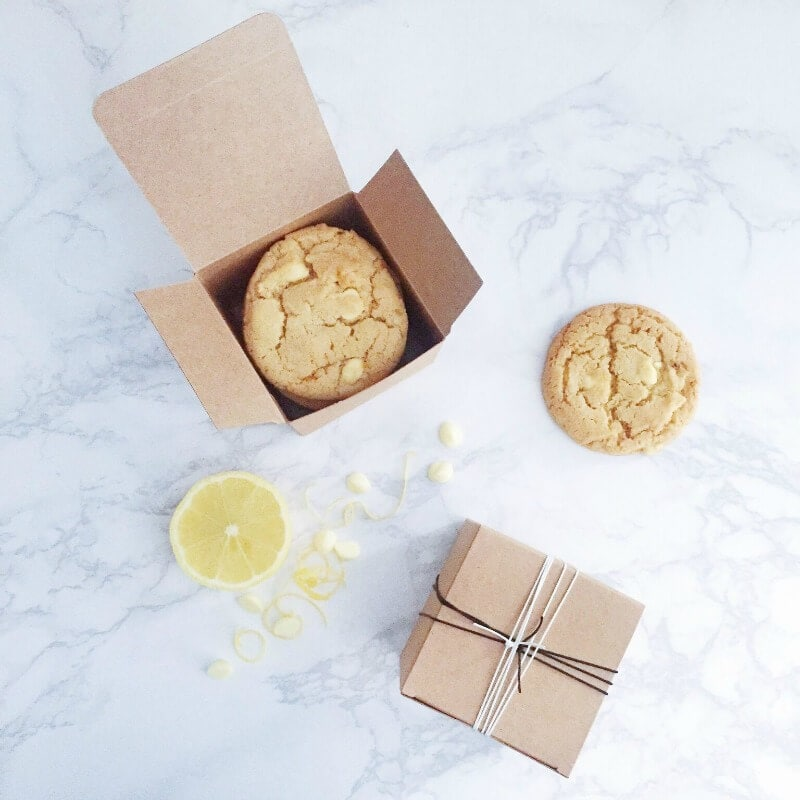white choc and lemon cookie recipe cookies in box with string