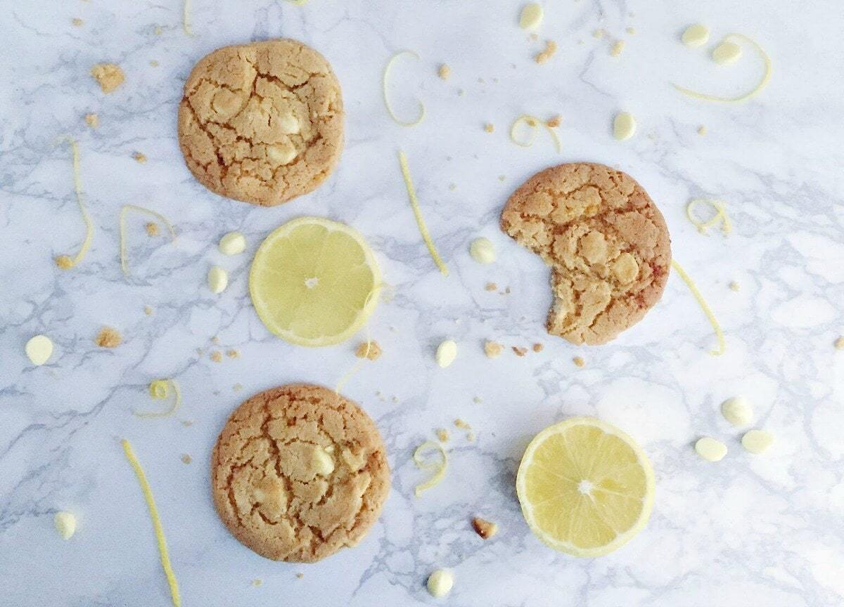 white choc and lemon cookie recipe flatlay the life creative