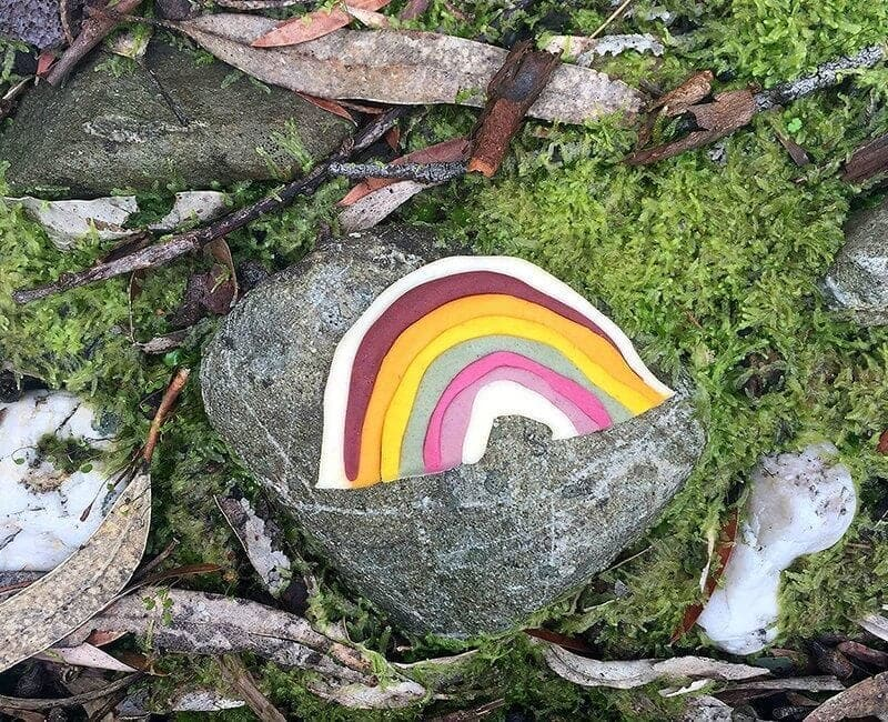 Happy hands happy heart kids natural playdough rainbow outdoors