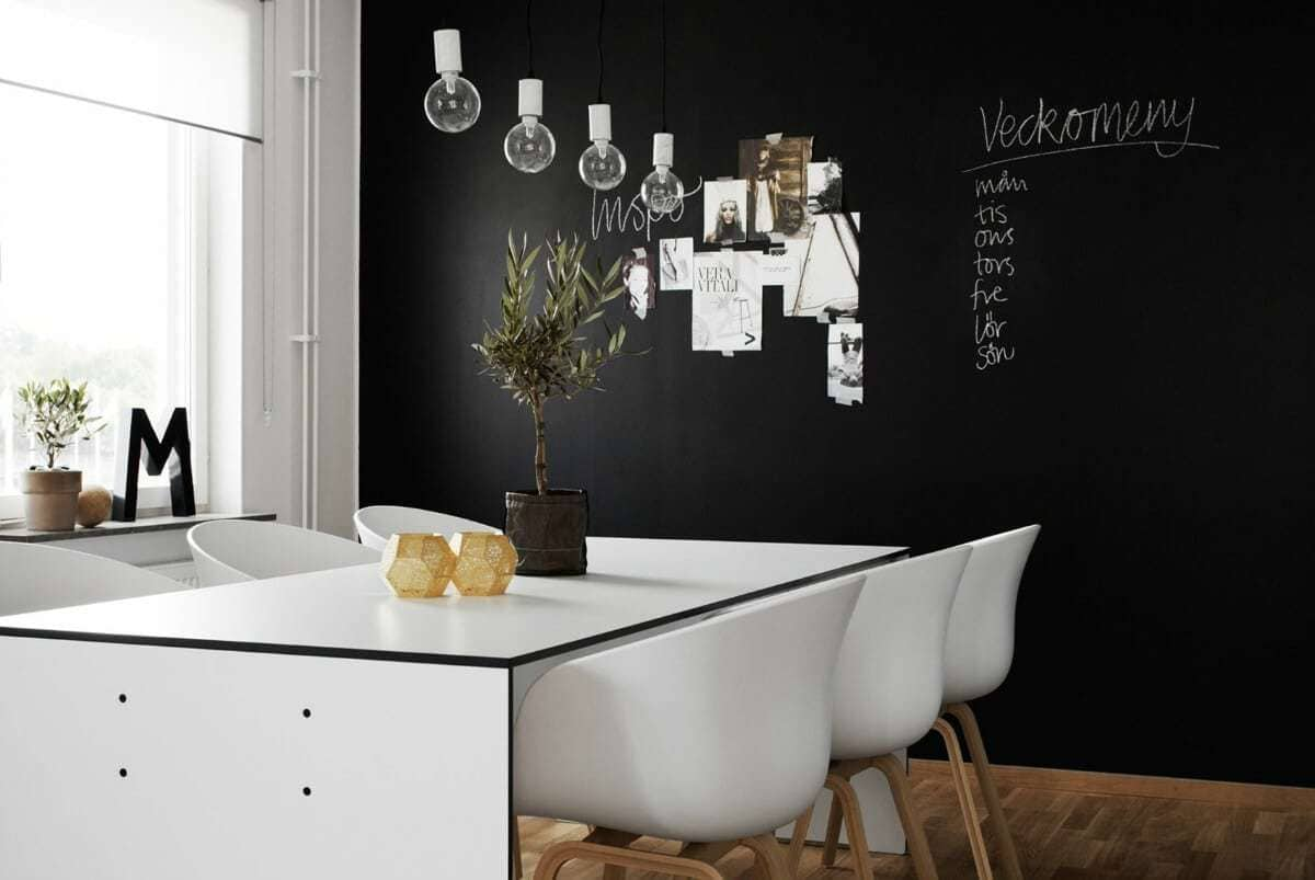 Black walls in dining room with white furniture and chalk board paint