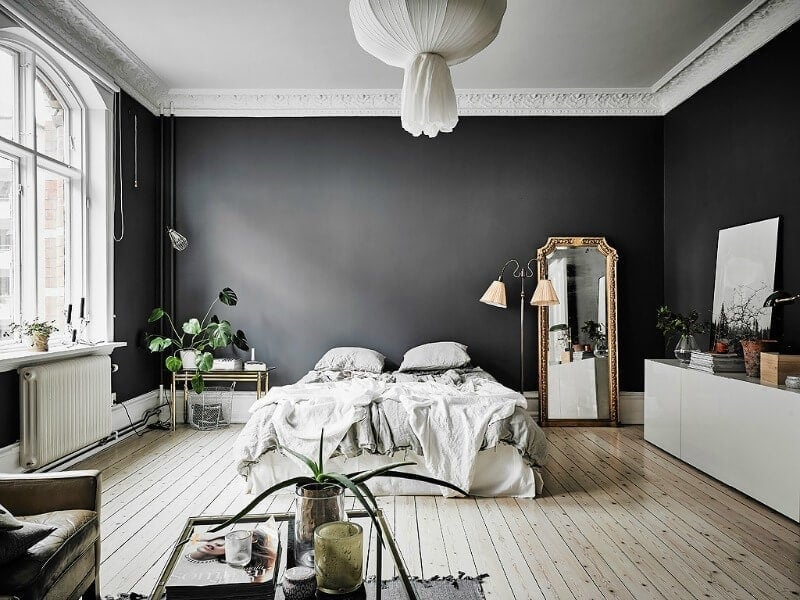 black walls in master bedroom with white timber flooring and gold french ornate mirror