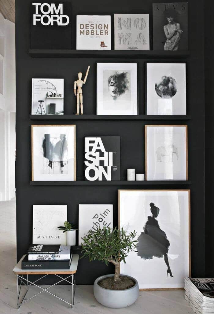 black walls with picture rail and monochromatic art from stylizmo