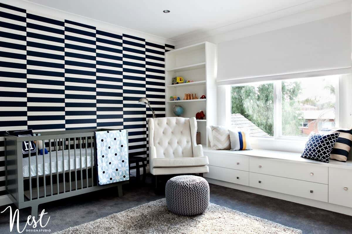 boys nursery ideas blue and white striped wallpaper in nursery on the life creative