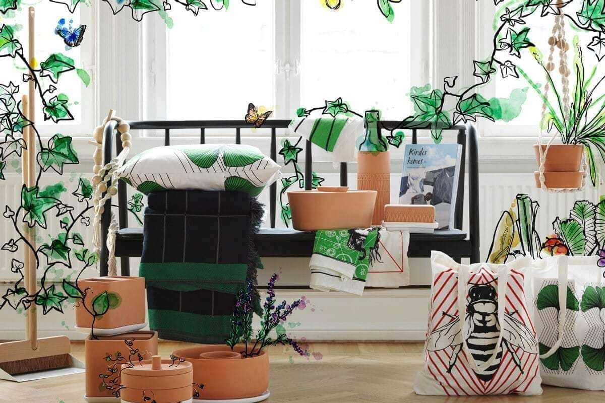 ikea anvandbar collection of clay pots and tote bags
