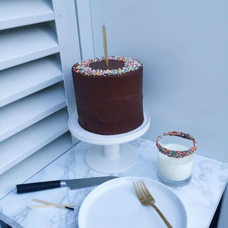 ultimate chocolate cake recipe with sprinkles and gold cutlery