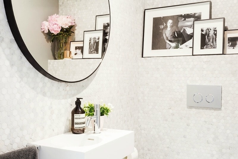 white hexagon bathroom tile in powder room design with photos darren and dea the block