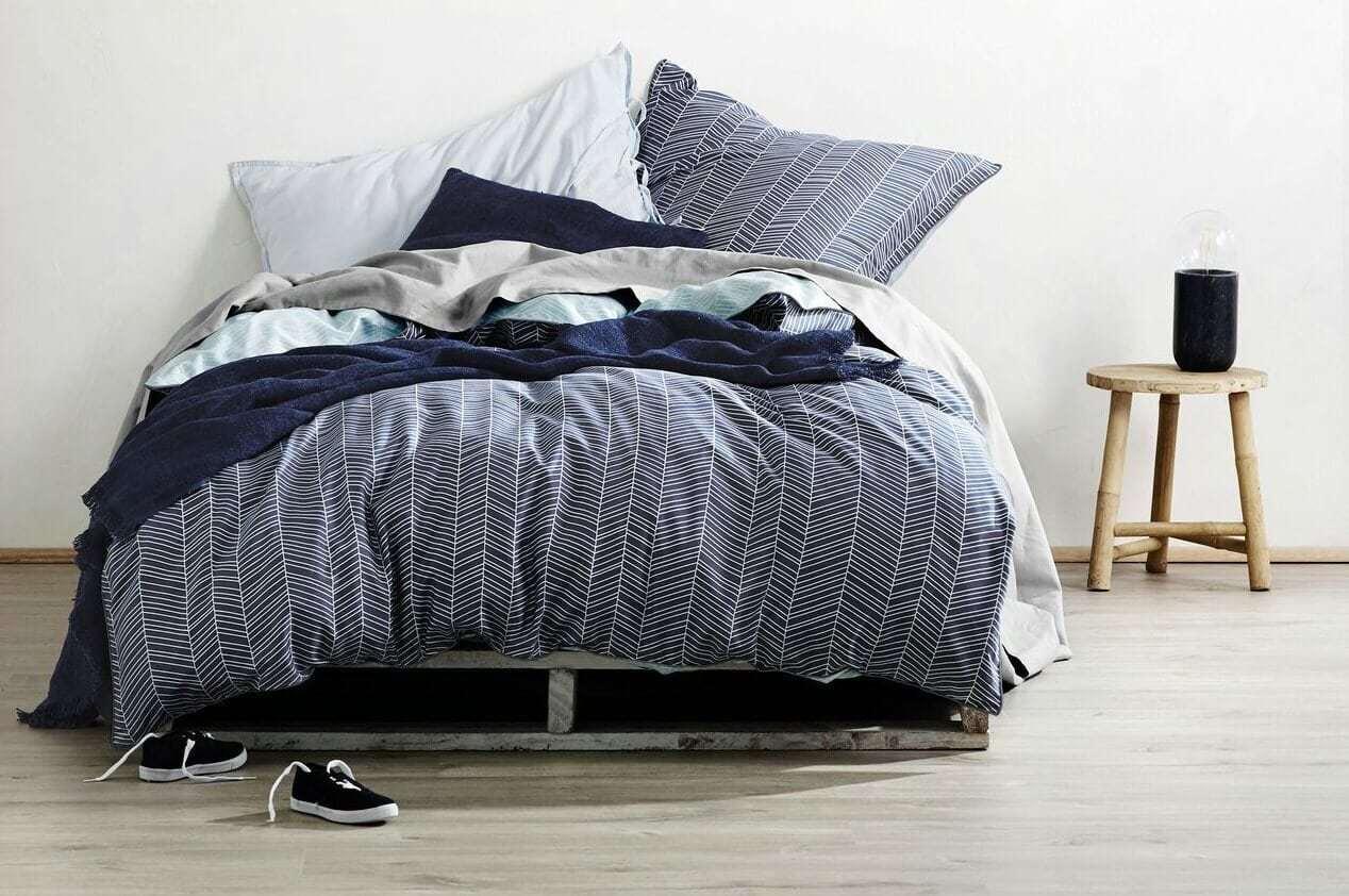 AURA spring AURA feather bedding in stone blue