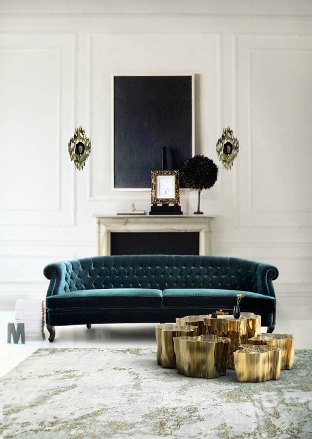 deep teal velvet sofa with tufting jewel tone interiors