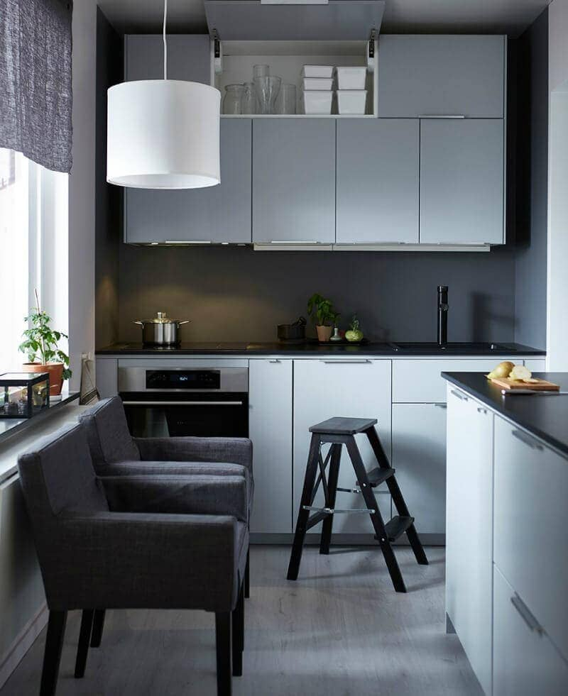 little-kitchen-ideas-from-ikea-grey-kitchen-cabinetry-black-benchtop